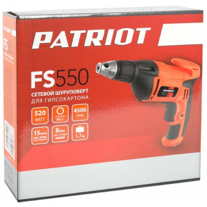 Дрель-шуруповерт Patriot FS 550 520Вт патрон:держатель бит 1/4