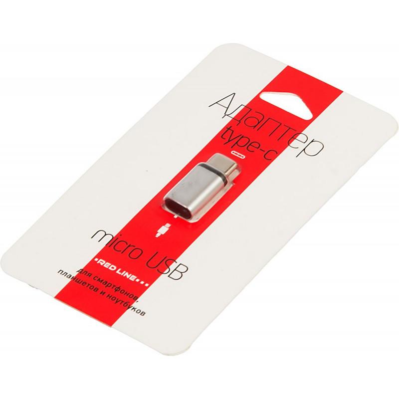 Переходник Redline УТ000013668 micro USB B (f) USB Type-C (m) серебристый