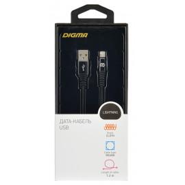 Кабель Digma USB A(m) Lightning (m) 1.2м черный