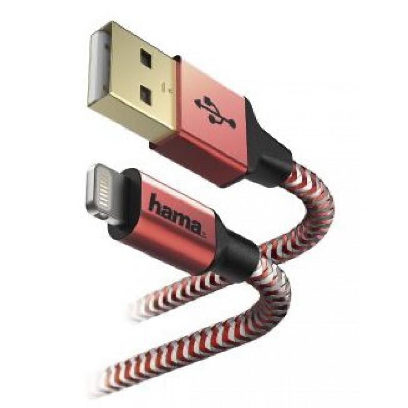 Кабель Hama 00178299 Lightning (m) USB A(m) 1.5м красный