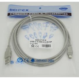 Кабель USB A(m) mini USB B (m) 1.8м серый