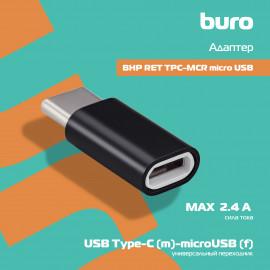 Переходник Buro BHP RET TPC-MCR micro USB (f)-USB Type-C (m) черный
