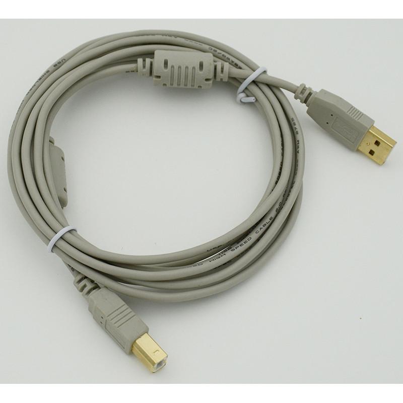 Кабель USB A(m) USB B(m) 3м феррит.кольца серый