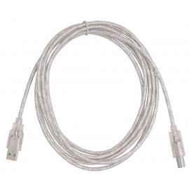 Кабель Buro USB2.0-AM/BM-3-TRANS USB A(m) USB B(m) 3м прозрачный