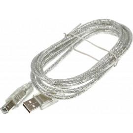 Кабель Ningbo USB A(m) USB B(m) 1.8м прозрачный блистер