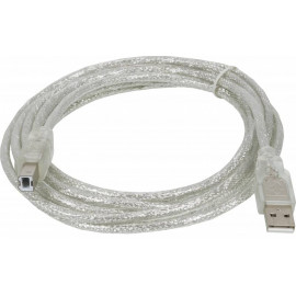 Кабель Ningbo USB A(m) USB B(m) 3м прозрачный