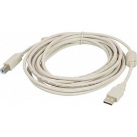 Кабель Ningbo USB A(m) USB B(m) 5м феррит.кольца серый