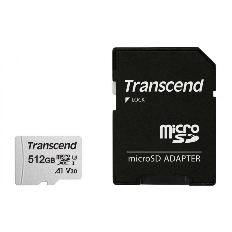 Флеш карта microSDXC 512Gb Class10 Transcend TS512GUSD300S-A 300S + adapter