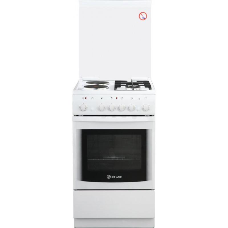 Плита Комбинированная De Luxe 506022.05гэ(кр) ЧР-030 белый (стеклянная крышка) реш.чугун