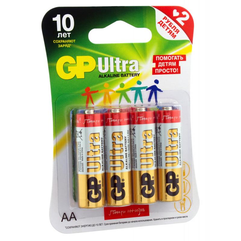 Батарея GP Ultra Alkaline 15AUGLNEW LR6 AA (промо:Подари Жизнь!) (4шт)