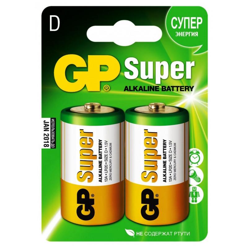 Батарея GP Super Alkaline 13A LR20 D (2шт)
