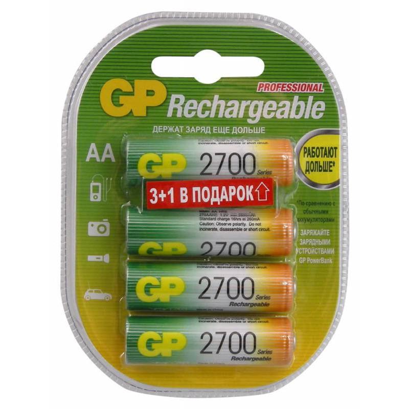 Аккумулятор GP 270AAHC3/1 AA NiMH 2700mAh (промо:3+1) (4шт)