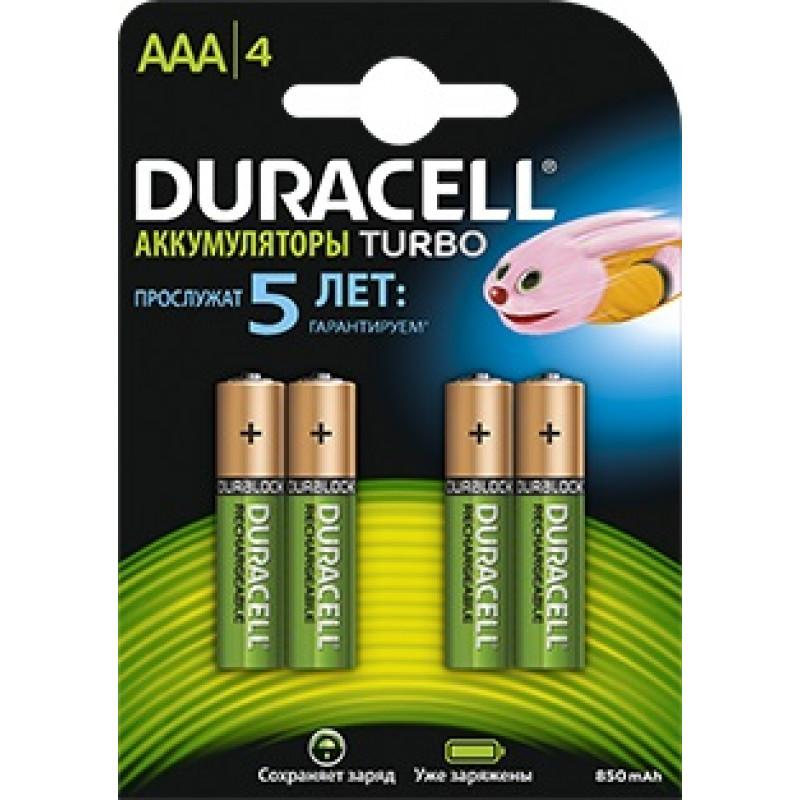 Аккумулятор Duracell Rechargeable HR03-4BL AAA NiMH 850mAh (4шт)
