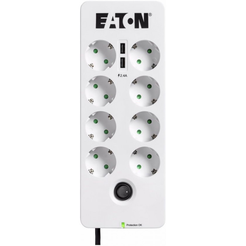 Сетевой фильтр Eaton Protection Box 8 Tel@ USB DIN 0.8м (8 розеток) белый/черный (коробка)