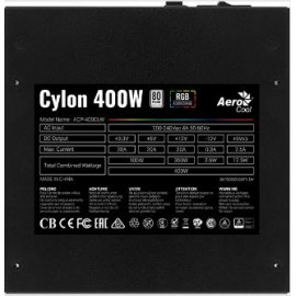 Блок питания Aerocool ATX 400W CYLON 400 80+ (24+4+4pin) APFC 120mm fan color 4xSATA RTL