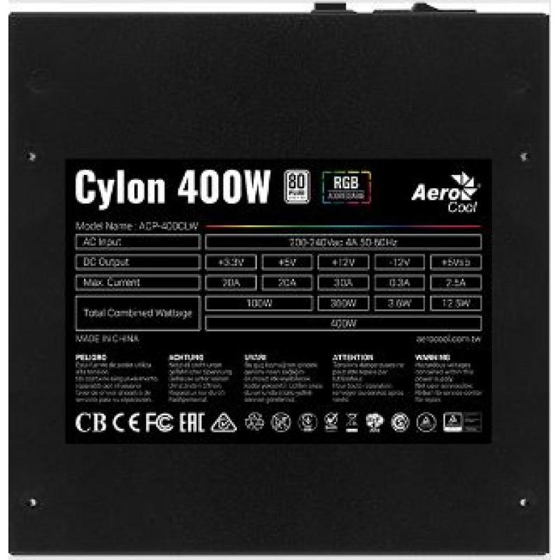 Блок питания Aerocool ATX 400W CYLON 400 80+ (24+4+4pin) APFC 120mm fan color 4xSATA RTL