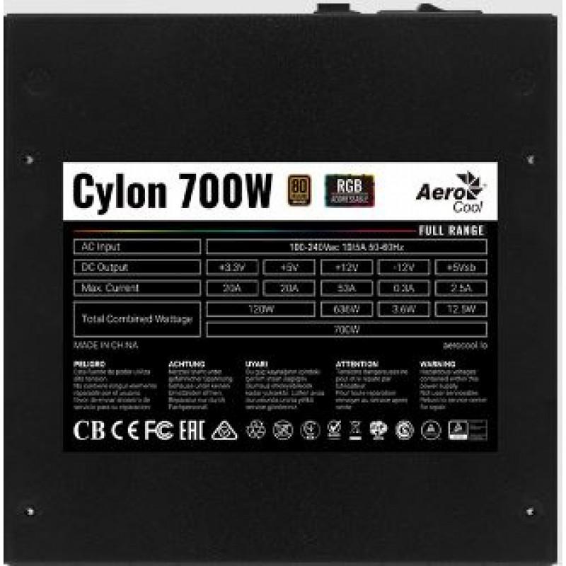 Блок питания Aerocool ATX 700W CYLON 700 80+ (24+4+4pin) APFC 120mm fan color 5xSATA RTL