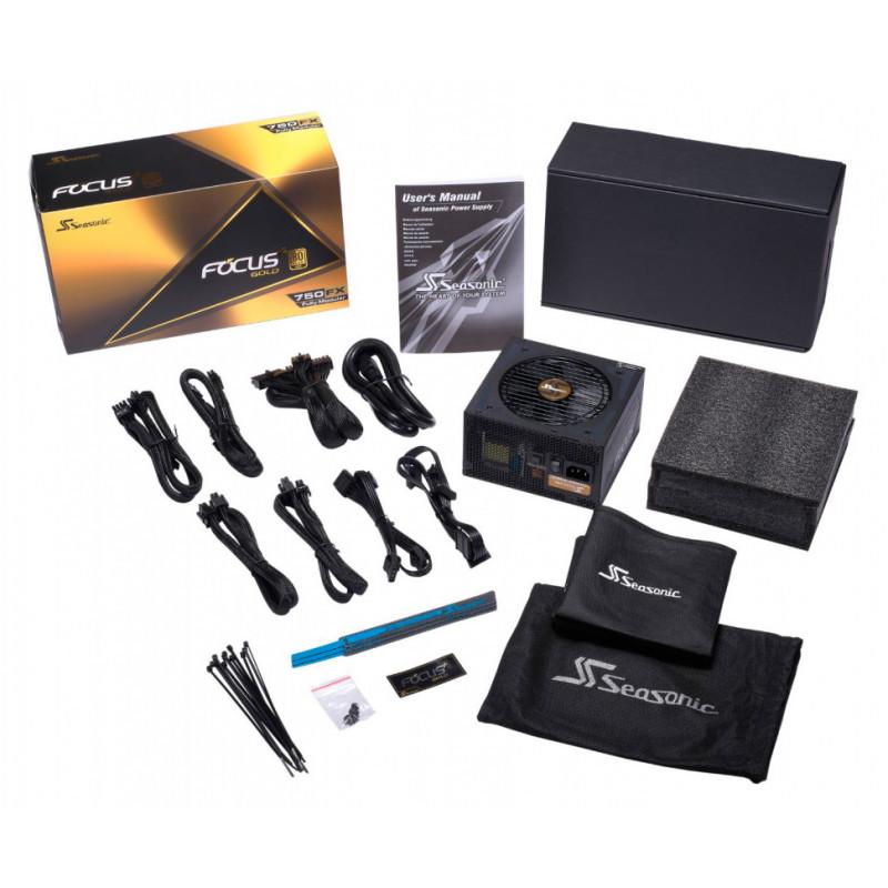 Блок питания Seasonic ATX 750W FOCUS GX-750 80+ gold 24+2x(4+4) pin APFC 120mm fan 10xSATA Cab Manag RTL