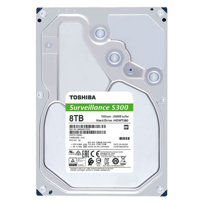 Жесткий диск Toshiba SATA-III 8Tb HDWT380UZSVA Surveillance S300 Pro (7200rpm) 256Mb 3.5