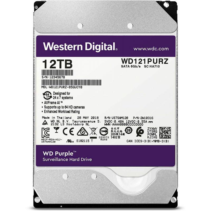 Жесткий диск WD Original SATA-III 12Tb WD121PURZ Purple (7200rpm) 256Mb 3.5