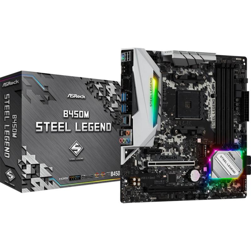 Материнская плата Asrock B450M STEEL LEGEND Soc-AM4 AMD B450 4xDDR4 mATX AC`97 8ch(7.1) GbLAN RAID+HDMI+DP