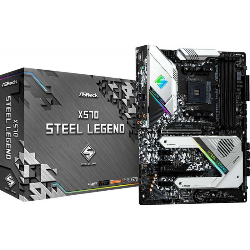 Материнская плата Asrock X570 STEEL LEGEND Soc-AM4 AMD X570 4xDDR4 ATX AC`97 8ch(7.1) GbLAN RAID+HDMI+DP