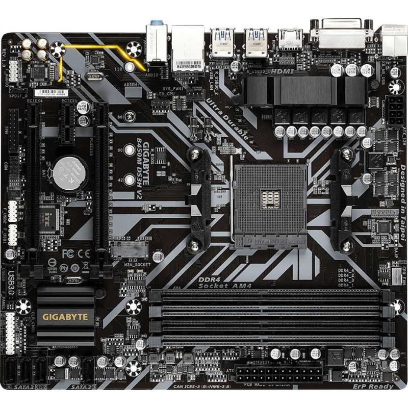 Материнская плата Gigabyte B450M DS3H V2 Soc-AM4 AMD B450 4xDDR4 mATX AC`97 8ch(7.1) GbLAN RAID+DVI+HDMI
