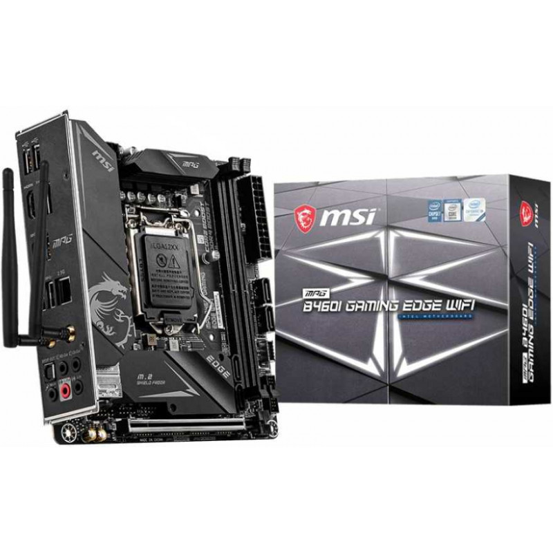 Материнская плата MSI MPG B460I GAMING EDGE WIFI Soc-1200 Intel B460 2xDDR4 mini-ITX AC`97 8ch(7.1) 2.5Gg RAID+HDMI+DP