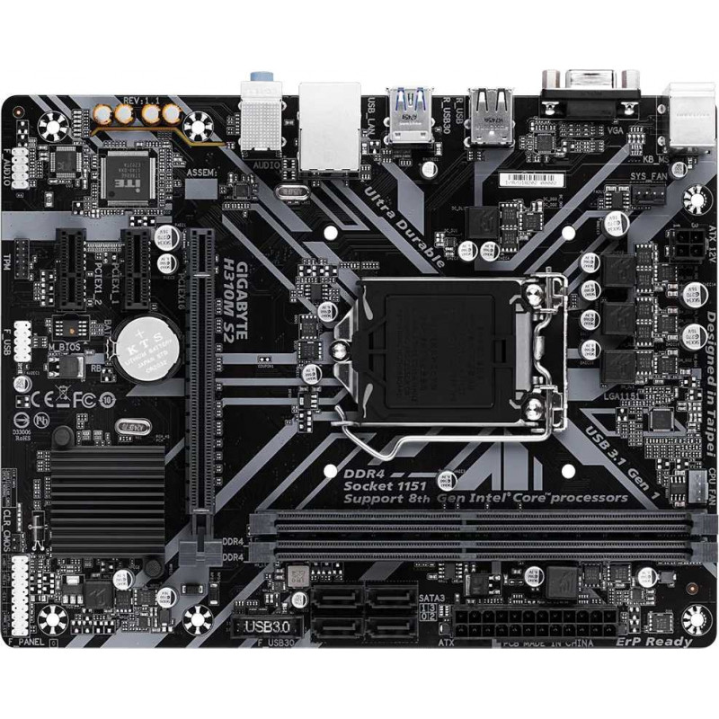 Материнская плата Gigabyte H310M S2 1.1 Soc-1151v2 Intel H370 2xDDR4 mATX AC`97 8ch(7.1) GbLAN+VGA