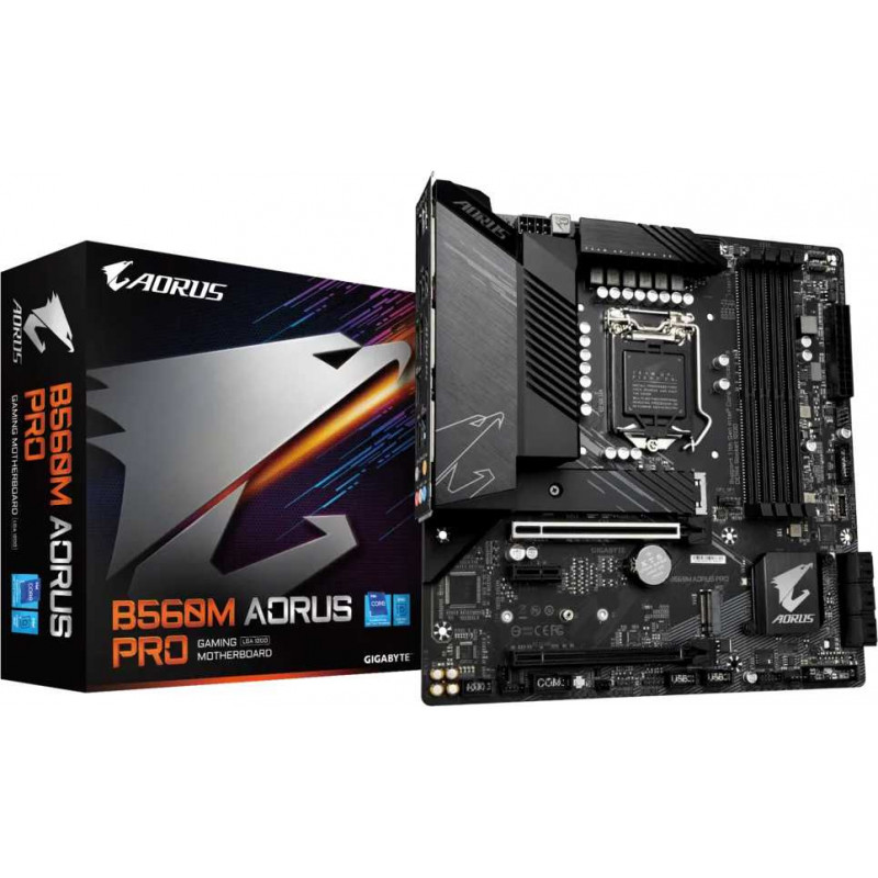 Материнская плата Gigabyte B560M AORUS PRO Soc-1200 Intel B560 4xDDR4 mATX AC`97 8ch(7.1) 2.5Gg+HDMI+DP