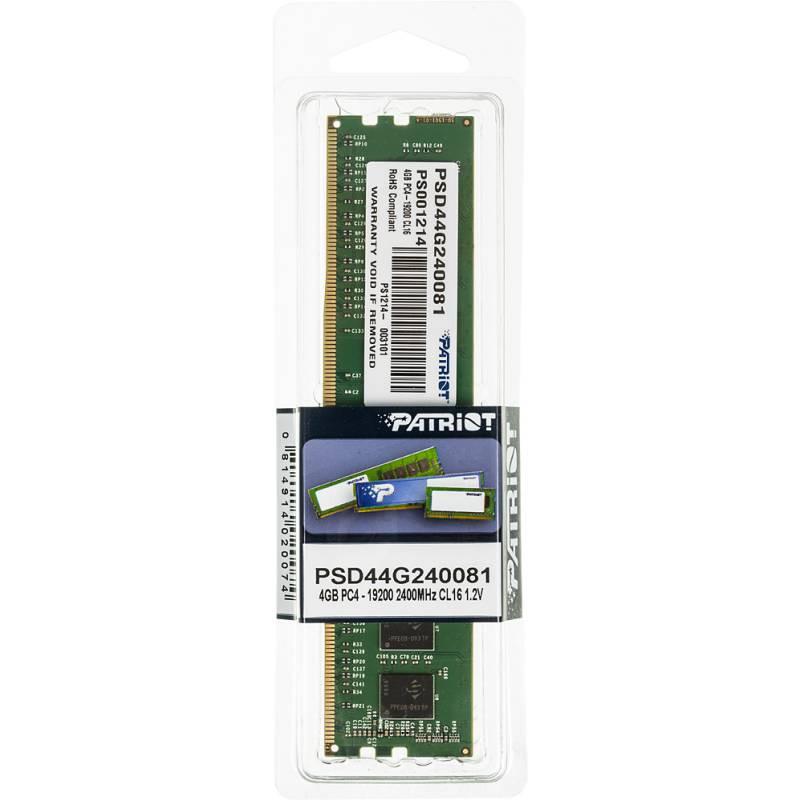 Память DDR4 4Gb 2400MHz Patriot PSD44G240081 RTL PC4-19200 CL17 DIMM 288-pin 1.2В single rank