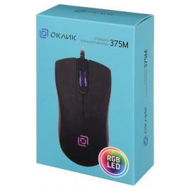 Мышь Оклик 375M черный оптическая (1000dpi) USB (3but)