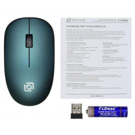 Мышь Оклик 515MW черный/зеленый оптическая (1000dpi) беспроводная USB для ноутбука (3but)