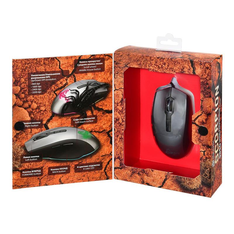 Мышь Оклик 985G SCORPION черный/серебристый оптическая (7200dpi) USB (7but)
