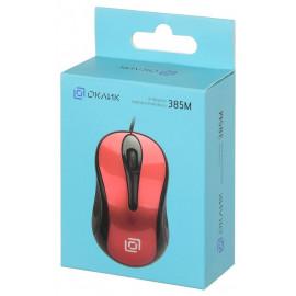 Мышь Оклик 385M черный/красный оптическая (1000dpi) USB для ноутбука (3but)