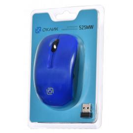 Мышь Оклик 525MW черный/синий оптическая (1000dpi) беспроводная USB для ноутбука (3but)