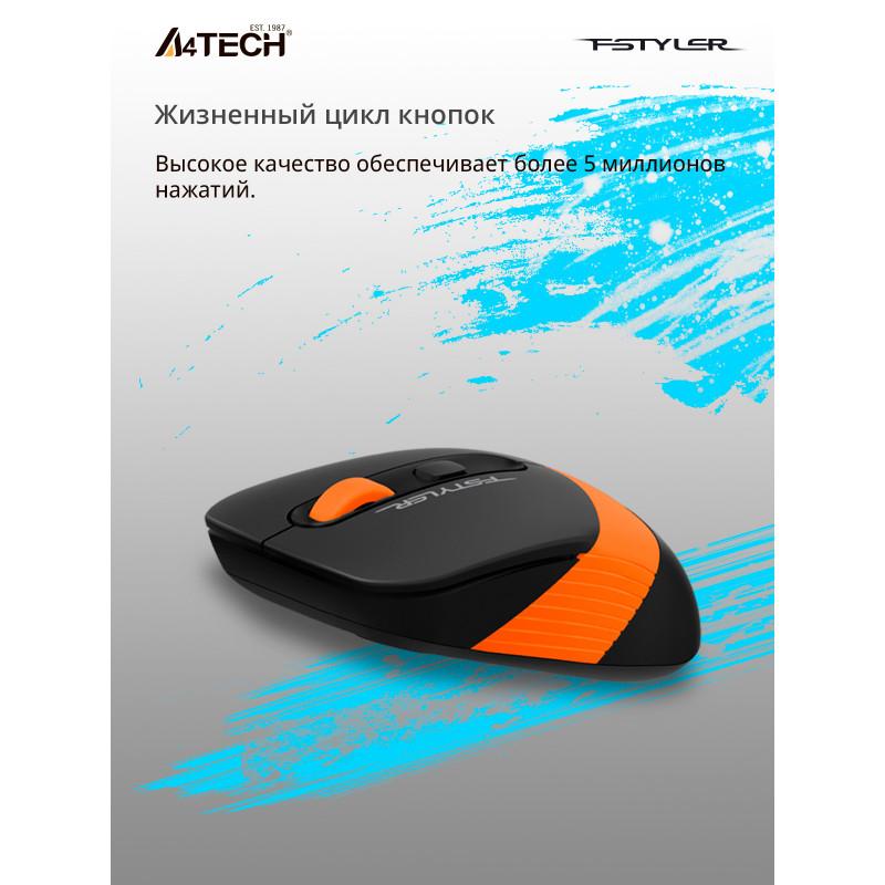 Мышь A4Tech Fstyler FG10 черный/оранжевый оптическая (2000dpi) беспроводная USB (4but)