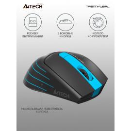 Мышь A4Tech Fstyler FG30S серый/синий оптическая (2000dpi) silent беспроводная USB (5but)