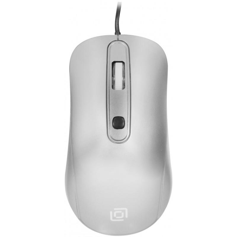 Мышь Оклик 155M серебристый оптическая (1600dpi) USB (4but)