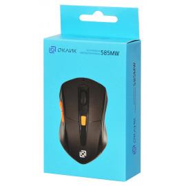 Мышь Оклик 585MW черный оптическая (1600dpi) беспроводная USB для ноутбука (7but)
