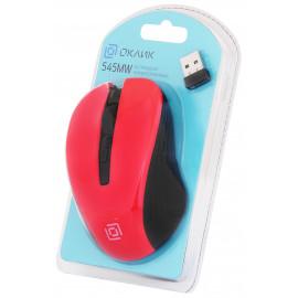 Мышь Оклик 545MW черный/красный оптическая (1600dpi) беспроводная USB для ноутбука (4but)