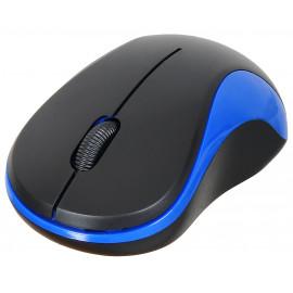 Мышь Оклик 605SW черный/синий оптическая (1200dpi) беспроводная USB для ноутбука (3but)