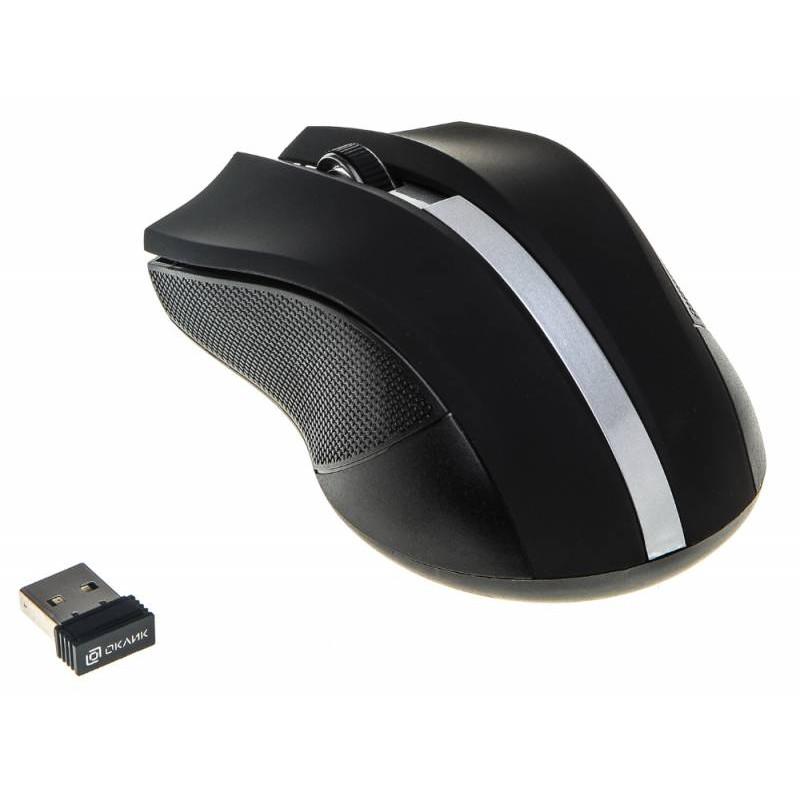 Мышь Оклик 615MW черный/серебристый оптическая (1000dpi) беспроводная USB для ноутбука (3but)