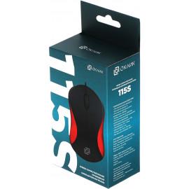 Мышь Оклик 115S черный/красный оптическая (1000dpi) USB для ноутбука (3but)