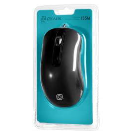 Мышь Оклик 155M черный оптическая (1600dpi) USB (4but)
