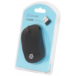 Мышь Оклик 445MW черный оптическая (1000dpi) беспроводная USB для ноутбука (3but)