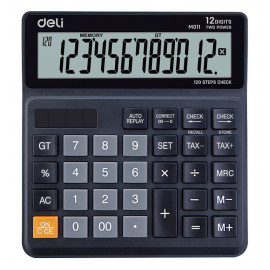 Калькулятор бухгалтерский Deli EM01120 черный 12-разр.