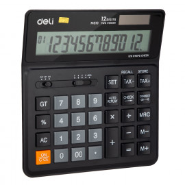 Калькулятор бухгалтерский Deli EM01020 черный 12-разр.
