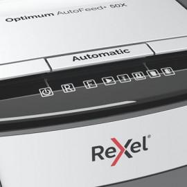 Шредер Rexel Optimum AutoFeed 50X черный с автоподачей (секр.P-4)/фрагменты/50лист./20лтр./скрепки/скобы/пл.карты