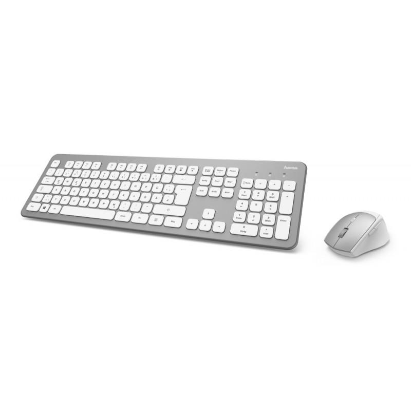 Клавиатура + мышь Hama KMW-700 клав:серебристый мышь:белый/серебристый USB 2.0 беспроводная slim